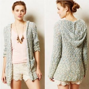Anthro moth hooded marled knit woven sweater